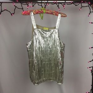 Anthropology Shiny Pleated Tank Top